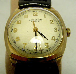 【送料無料】1940s vintage nice condition 9k solid gold jw benson watch