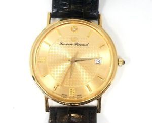【送料無料】mens lucien piccard swiss quartz date 34mm 18kt solid gold case wrist watch
