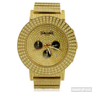 【送料無料】rcamp;co full iced sport watch lab made canary stones on gold