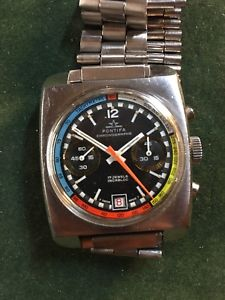 montre vintage chronographe pontifa valjoux 7734 acier 35mm rare