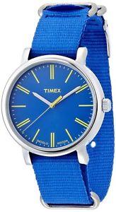 timex t2p362 womens analog steel watch blue nylon strap