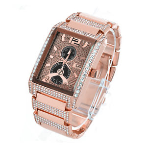 techno pave hip hop rectangle cz iced rose gold plated metal watches wm 8447 rg