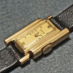 【送料無料】stunning rare lecoultre ladys solid 14k yellow gold asymmetrical wristwatch