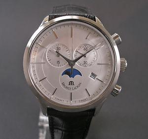 【送料無料】hau maurice amp; lacroix mondphasen chronograph lc 1148 stahl steel herrenuhr neu