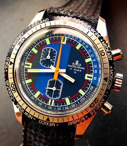 【送料無料】meister anker gmt swiss made vintage divers herren chronograph ungetragen 1975