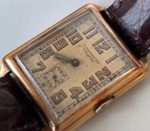 【送料無料】vintage antique movado chronometer wristwatch 1920's 1930's gold swiss art deco