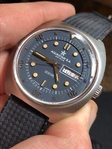 【送料無料】vintage aquastar seatime automatic mens diver watch steel 40mm as 2066