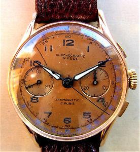 【送料無料】1940s swiss 18k gold chronographe suisse landeron 51 chronograph watch serviced
