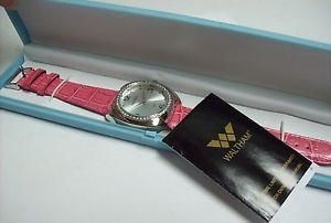 【送料無料】ladies waltham watch in blue box pink leather