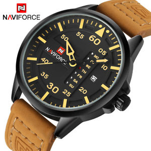 naviforce luxury brand men army military watches leather xmas gifts for him son