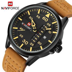 【送料無料】naviforce luxury brand men army military watches leather xmas gifts for him son