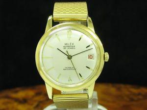 milex 18kt 750 gold automatic herrenuhr mit datum  kaliber eta 2452