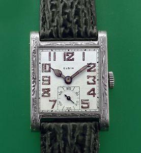 【送料無料】vintage 1927 white 14k gold elgin masculine antique mens wrist watch