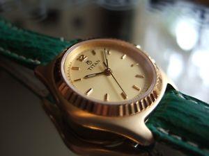 【送料無料】womens titan gold plated orca datejust 814yda 30m100ft watch shark strap