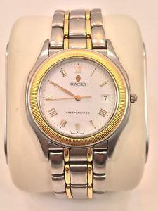 【送料無料】concord steeplechase steel amp; 18k yellow gold quartz wrist watch 35mm 1565220