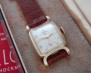 【送料無料】mens vintage antique nos lord elgin wristwatch original box, strap serviced