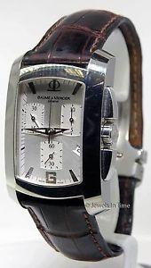 【送料無料】baume amp; mercier milleis 8445 xl chronograph steel watch box amp; papers