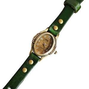 montre bracelet quartz cuir  xena  ovale vert