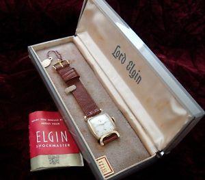 mens vintage antique nos lord elgin wristwatch original box, strap  serviced