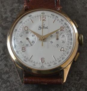 【送料無料】rare bostol chronograph mens vintage watch uhr 37,5mm 18k solid gold case