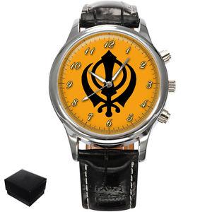 【送料無料】neues angebotsikh khanda symbol sikhism mens wrist watch gift engraving