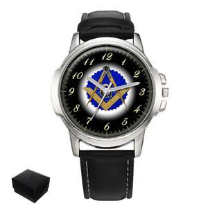 【送料無料】square amp; compasses masonic mason gents mens wrist watch gift engraving