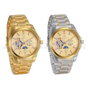 【送料無料】mens business moon phase star roman numberals stainless steel quartz wrist watch