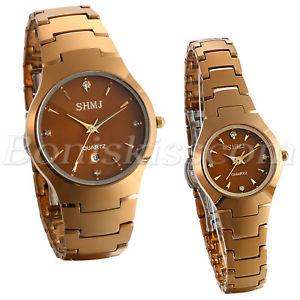 【送料無料】couples men women luxury cee gold tungsten rhinestone date quartz wrist watch