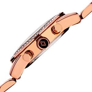 womens akribos xxiv ak872 swarovski crystal bezel day date bracelet watch