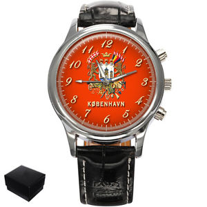 【送料無料】copenhagen kbenhavn city flag coat of arms denmark mens wrist watch engraving