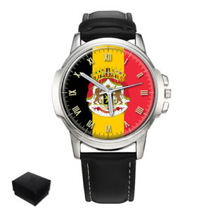 【送料無料】neues angebotbelgium belgi flag coat of arms gents mens wrist watch gift engraving