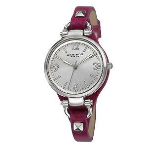 womens akribos xxiv ak761pu swiss quartz decorated thin leather strap watch