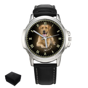 personalised, custom mens wrist watch your photo pets, dogs engraving gift xmas
