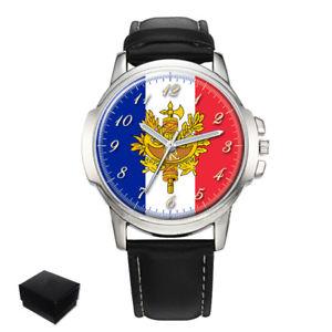 【送料無料】france flag coat of arms gents mens wrist watch gift engraving