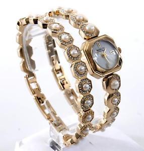 【送料無料】 1 badgley mischka womens gold pearl bracelet and watch ba1376gbst wb