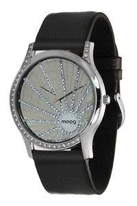 moog paris montre femme avec cadran argent, elments swarovski, bracelet noir