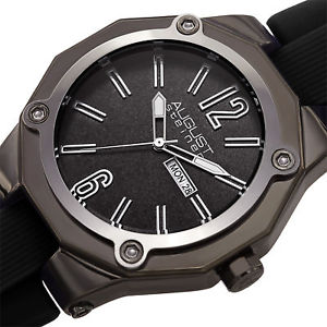 mens august steiner as8232bk raised numerals quartz silicon strap date watch