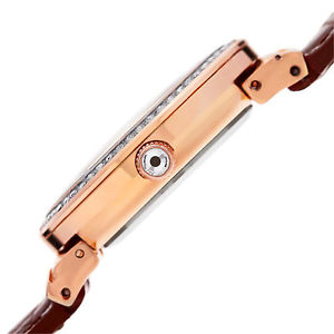 womens akribos xxiv ak829rgbr quartz swarovski crystal brown leather watch