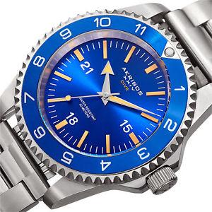 mens akribos xxiv ak1002ssbu quartz diver silvertone stainless steel watch set