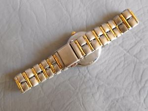elvia montre bracelet ancienne metal bicolore gris dor femme strass women watch