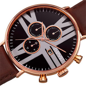 送料無料 mens august steiner as8212rgb 24 hour counter date genuine leather strap watchsQCdxtrh