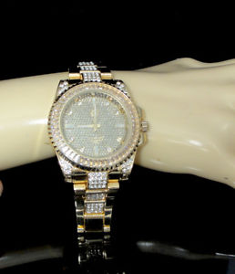 full iced out techno pave ladies womens baguette round set wrist watch gold ep