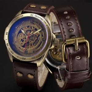 mens steampunk  skeleton self winding automatic watch