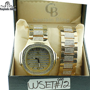 mens hip hop captain bling watch  bracelet wset12 gld brand  with box