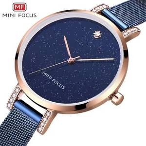 【送料無料】luxury brand rose gold blue watches stainless steel xmas gifts for her mum women