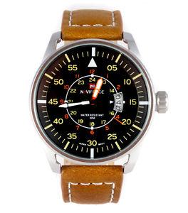 aviators 45mm pilot's steel military sport date quartz wrist watch tw