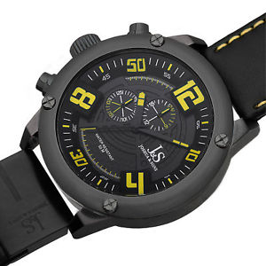 mens joshua amp; sons js70 lefty swiss quartz multifunction leather strap watch