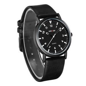 orologio polso weide wd003 uomo originale cinturino nero vera pelle fondo nero