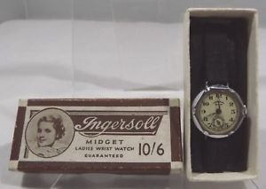 【送料無料】vintage boxed ingersoll midget ladies wrist watch all original, not working