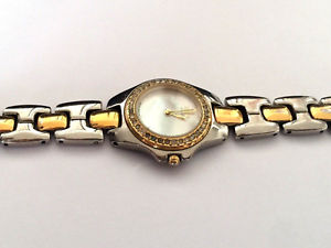 esq by movado 100506 swiss two tone womens mother of pearl mop watch runs